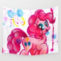 pie Wall Tapestries featuring Pinkie Pie by JerZy