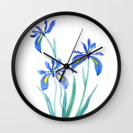 blue iris watercolor Wall Clock