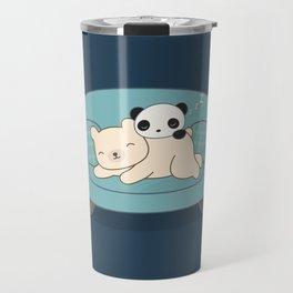 Kawaii Lazy Panda and Polar Bear Travel Mug