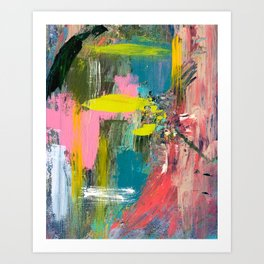 Collision - a bright abstract with pinks, greens, blues, and yellow Art Print