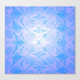 Blue and White Geometric Icy Lace Pattern Canvas Print
