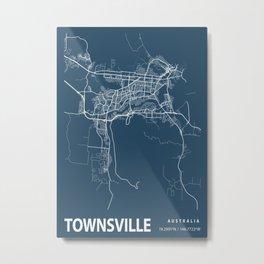 Townsville Blueprint Street Map, Townsville Colour Map Prints Metal Print