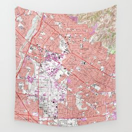 Vintage Map of Whittier California (1965) Wall Tapestry