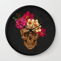 animal skull Wall Clocks featuring Skull by eARTh