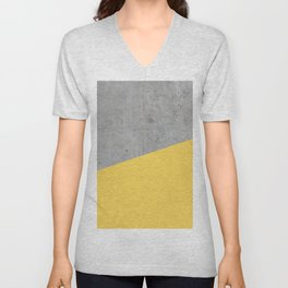 Concrete and Primrose Yellow Color Unisex V-Neck
