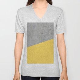 Concrete and Primrose Yellow Color Unisex V-Neck