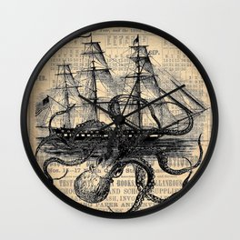 Octopus Kraken attacking Ship Antique Almanac Paper Wall Clock