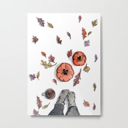 All Things Fall, Pumpkins, Coffee, Leaves Metal Print
