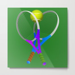 Tennis Rackets and Ball Metal Print