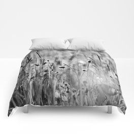 Once in the meadow - photography black&white Comforters