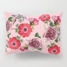 Flowers Roses Spring Blossom in Pink Pillow Sham