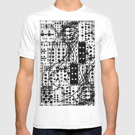 analog synthesizer system - modular black and white T-shirt