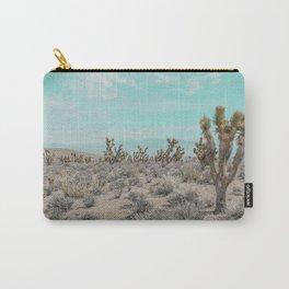 Teal Desert Sky // Cactus Landscape Photography Sierra Nevada USA Cloud Dusted Sky Carry-All Pouch