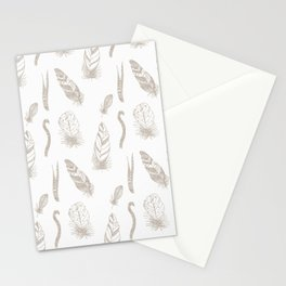Modern Farm House Feathers White Stationery Cards