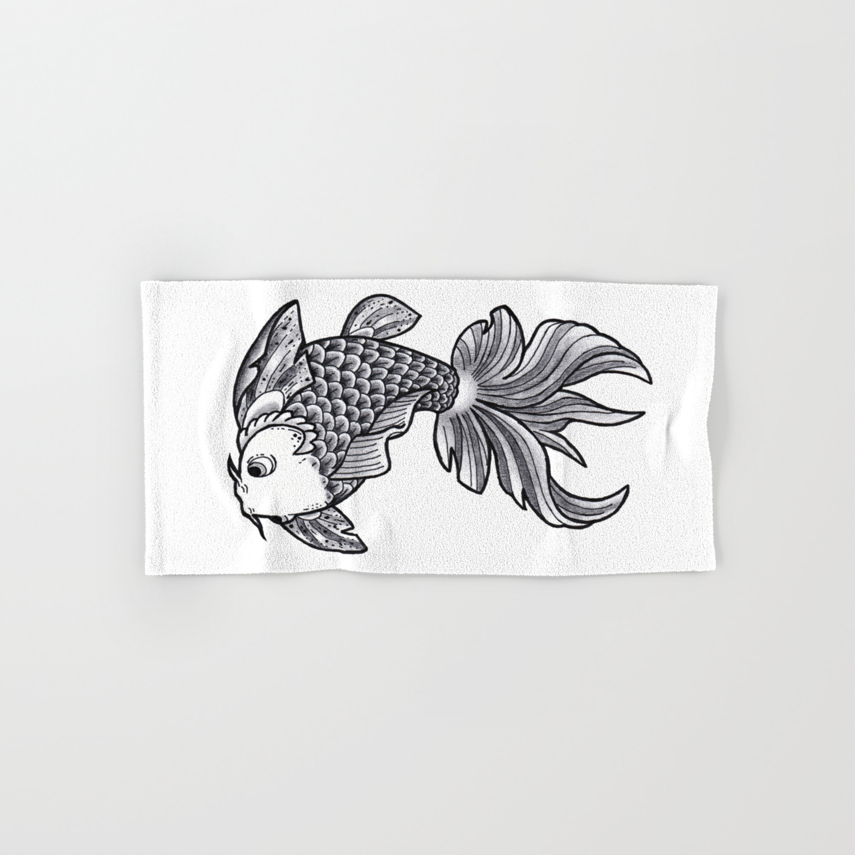 Fish handmade drawing made in pencil charcoal and ink tattoo sketch tattoo flash carp koi hand bath towel