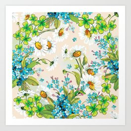 Adorable white sunflower texture Art Print