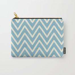 Chevron Wave Blue Petit Four and Glass Green Carry-All Pouch