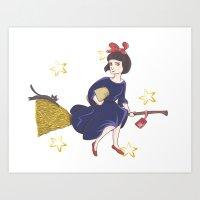 kiki Art Prints featuring Kiki by Uyen Uyen Tran