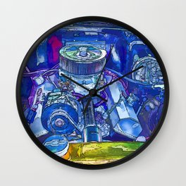 A View of a Motor Car Engine Wall Clock