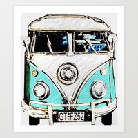 volkswagon Art Prints featuring CarPool by Adrienne