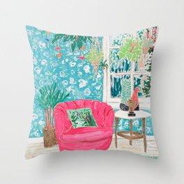Pink Tub Chair Throw Pillow