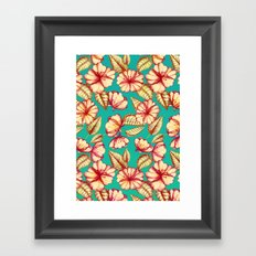Retro style Rust & Teal Hand drawn Floral Pattern Framed Art Print