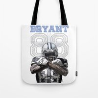 nfl Tote Bags featuring Dez Bryant - watercolor by Sergio Navarrete