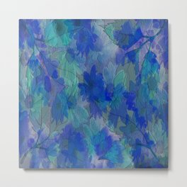 Painterly Midnight Flower Abstract Metal Print