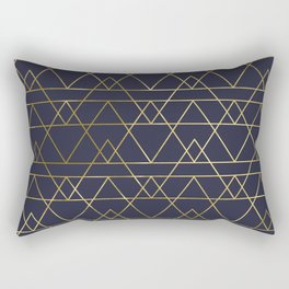 Modern Gold Navy Blue Rectangular Pillow