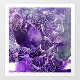 navy flowers Art Print