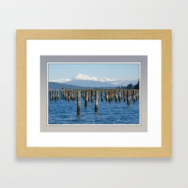 MOUNT BAKER KOMA KULSHAN AND OLD PILINGS  Framed Art Print