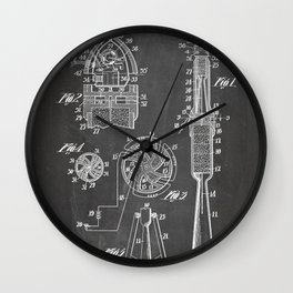Rocket Ship Patent - Nasa Rocketship Art - Black Chalkboard Wall Clock