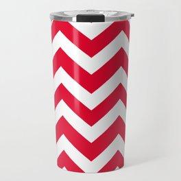 Medium candy apple red - red color - Zigzag Chevron Pattern Travel Mug