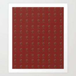 Burgundy Red Floral Pattern Art Print