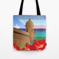 puerto rico Tote Bags featuring Puerto Rico by PADMA DESIGNS PR