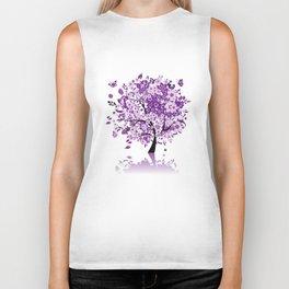Purple Floral Tree Biker Tank