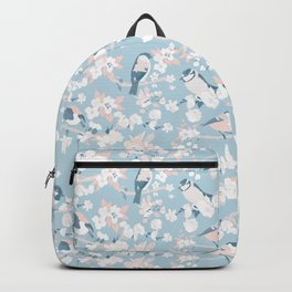 Blossom and Birds Blue Grey and Pale Coral Backpack