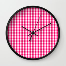 Hot Neon Pink and White Gingham Check Wall Clock