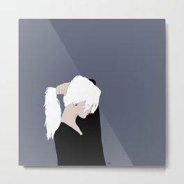 White Hair Beauty Metal Print