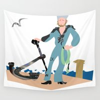sailor Wall Tapestries featuring Sailor by Design4u Studio