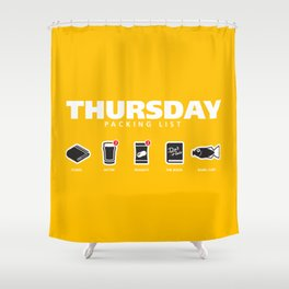 THURSDAY - The Hitchhiker's Guide to the Galaxy Packing List Shower Curtain