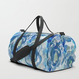 Sky Blue Painterly Floral Abstract Duffle Bag