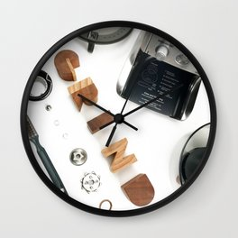 Grind # 2 // Exploded View Espresso Coffee Grinder Wood Block Typography Lettering Photograph Wall Clock