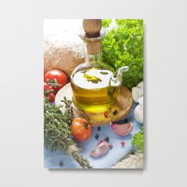 Bottle of Olive oil and condiments on blue napkin Metal Print