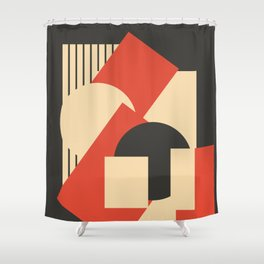 Geometrical abstract art deco mash-up scarlet beige Shower Curtain