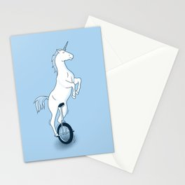 Unicorn on a unicycle - blue Stationery Cards