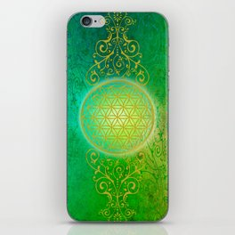 Flower Of Life Vintage gold green iPhone Skin