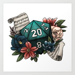Bard Class D20 - Tabletop Gaming Dice Art Print