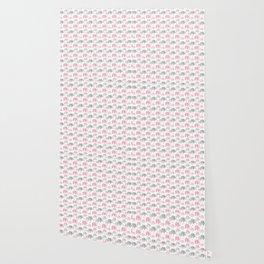 Pink Gray Elephant Baby Girl Nursery Wallpaper