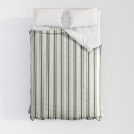 Large Dark Forest Green and White Mattress Ticking Stripes Comforters